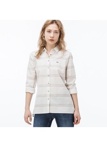 Lacoste Kadın Çizgili Gömlek CF0904.04K Bej